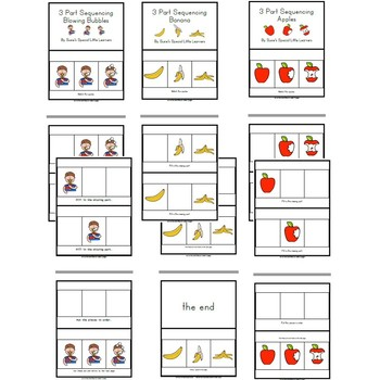 Simple  3 Part Sequencing Adapted Books  for Autism (Set 2)