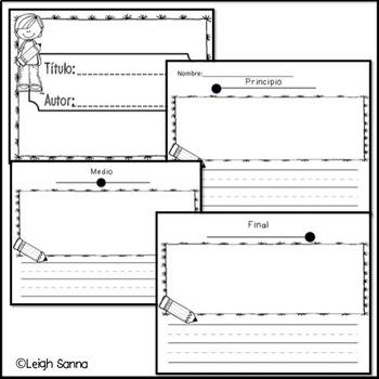 Story Writing Template: Three Part (Spanish!) (Principio, Medio, Final)