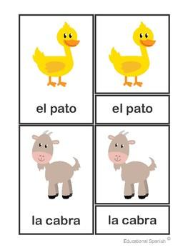 3-Part cards animales granja / Farm animals