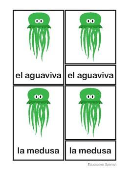 3-Part cards animales mar / Sea animals