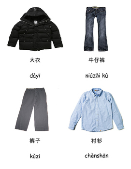 3 Parts Cards for Clothing in Chinese