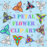 3 Petal Flower Clip art Collection