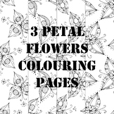 3 Petal Flower Patterns Spring Colouring Pages Printable 4