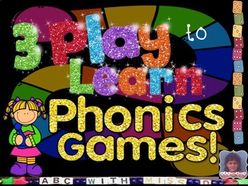 3 Phonics Games! First Sound, Final Sound and Rhyming Board Games for Reading