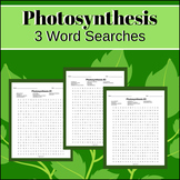 3 Photosynthesis Word Search Puzzles