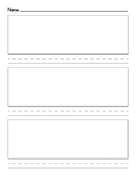 3 Pictures 3 Lines Writing Page