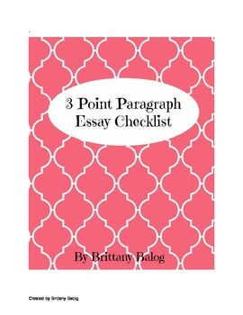 Informational 3 Point Paragraph Checklist