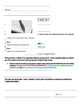 3 Point Thesis Statement Worksheet