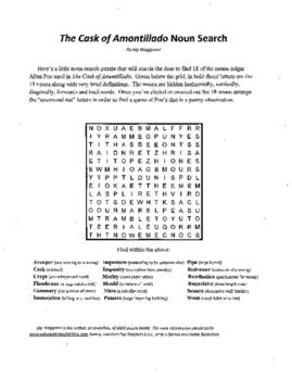3 Puzzle,Edgar Allan Poe,Cask of Amontillado,Noun Search,Vocabulary,Crossword