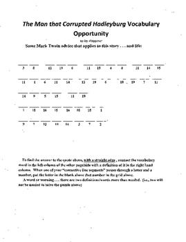3 Puzzle Package,Mark Twain,Man Corrupted Hadleyburg,WS.Vocab,X-word