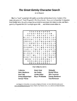 3 Puzzle Package,The Great Gatsby,F. Scott Fitzgerald,Character Search,Vocab,+