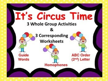 Reading Whole Group Activities & 3 Worksheets--Circus Them