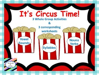 Reading Whole Group Activities & Worksheets--Circus Theme (peanuts)
