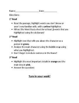 3 Reads Close Reading Step By Step (Literary)