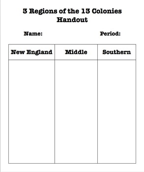 3 Regions of the 13 Colonies Sort Handout with P.E.G.S. extension