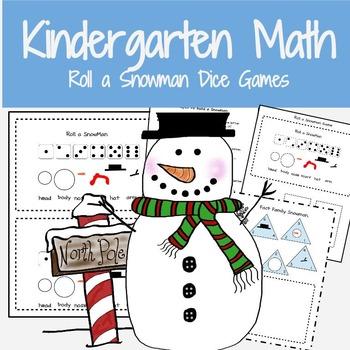 Kindergarten Math Worksheets: Roll a Snowman