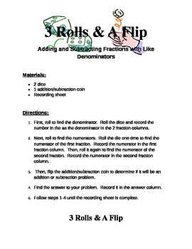 3 Rolls & A Flip Fraction Game
