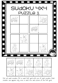 3 introductory SUDOKU puzzles -  4x4 grid puzzles JAPANESE MONSTER theme
