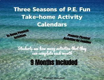 3 Seasons of  P.E. Fun AND 3 Seasons of Writing Fun--Activity Calendars Bundle