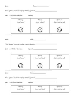 3 Section Behavior Chart