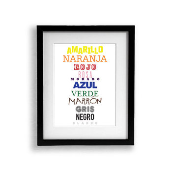 3 Set of Language Color Posters French Spanish English Colors Poster