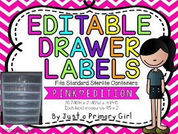 3 Sets of Neon Pink chevronEditable Drawer Labels