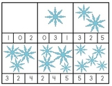 3 Sets of Snowflake Count and Clip Numbers 0-10