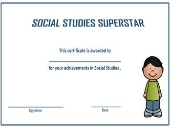 3 Social Studies Superstar Award Certificates