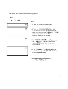 3 Solve Multi Step Equations Using Algebra Guided Notes