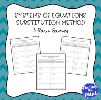 3 Solving Systems Of Equations Substitution Method Row Games Tpt