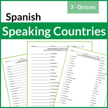 3 - Spanish Speaking Countries and Capitals Practice/Quiz (THREE Versions)