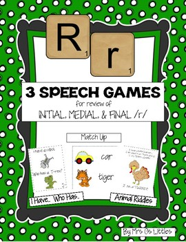 3 Speech Games for review of Initial, Medial, & Final /r/