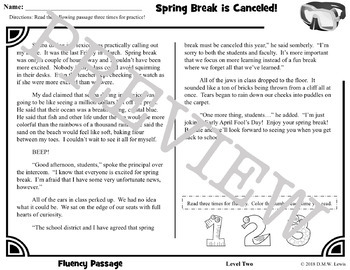 4 Spring Break Reading Comprehension Passages and Questions + Fluency