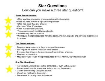 3 Star Question Anchor Chart/Rubric ~ Danielson Model ~ Questioning