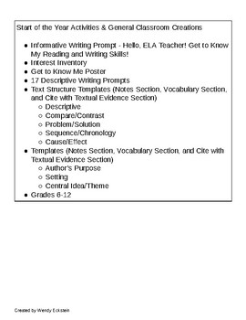 """3 Start of Year - ELA """"Get to Know Me"""" Activities"""