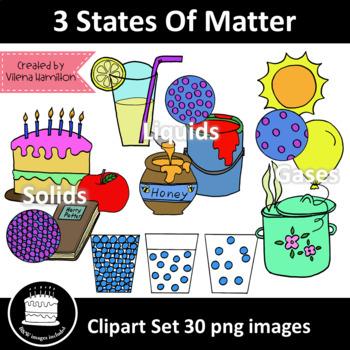 3 States Of Matter Clipart Set