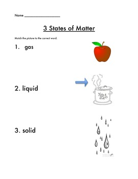 3 States of Matter Assessment