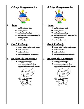 3 Step Comprehension Strategies Bookmark