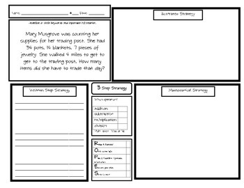 3 Step Strategy Word Problem boards