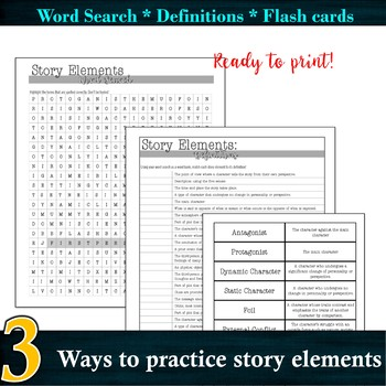 3 Story Element activities: Word Search / Definition Quiz / Flash cards