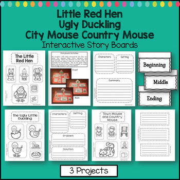Little Red Hen Activity Ugly Duckling Country Mouse - Interactive Lapbook