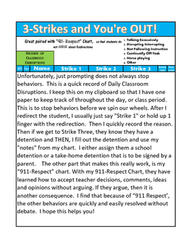 3-Strikes and You're Out! For Classroom Disruptions