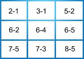 3 Subtraction Bingo Boards/Worksheets