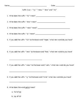 3 Suffix quizzes