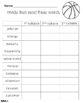 3 Syllable Word Syllable Division Practice
