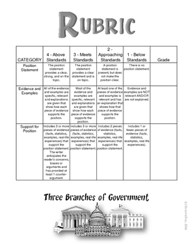 3-TO-1 The Three Branches of Government Classroom & Homework Assignments