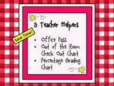 Teacher Planner Forms: Percentage Grading Chart, Office Pass, and Sign Out Sheet
