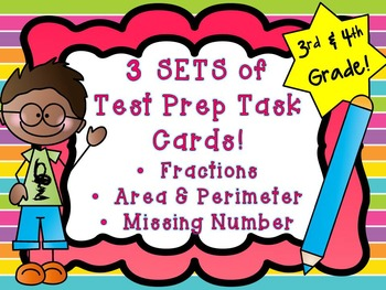 Common Core Test Prep Task Cards 3rd/4th Area & Perimeter, Fractions & More