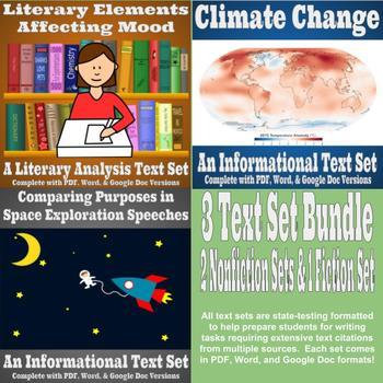 3 Text Set Bundle - Space Exploration, Climate Change, Literary Analysis