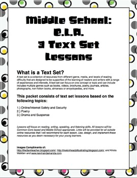 3 Text Set Lessons Plans: Internet/Online Safety, Poetry, Drama and Suspense
